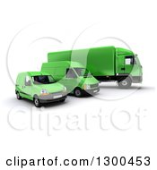 Clipart Of A 3d Shipping And Delivery Fleet Of A Green Big Rig Truck And Vans Royalty Free Illustration by Frank Boston
