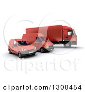 Clipart Of A 3d Shipping And Delivery Fleet Of A Red Big Rig Truck And Vans Royalty Free Illustration