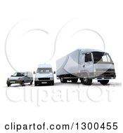 Clipart Of A 3d Shipping And Delivery Fleet Of A White Big Rig Truck And Vans Royalty Free Illustration
