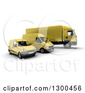 Clipart Of A 3d Shipping And Delivery Fleet Of A Yellow Big Rig Truck And Vans Royalty Free Illustration