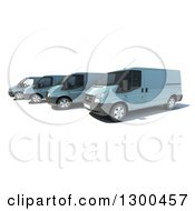 Clipart Of A 3d Fleet Of Blue Delivery Vans On White Royalty Free Illustration