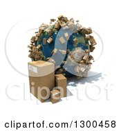 Clipart Of A 3d Earth Globe With Shipping Packages All Over The World And On The Floor Over White Royalty Free Illustration