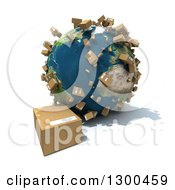 Clipart Of A 3d Earth Globe With Shipping Packages All Over The World And One On The Floor Over White Royalty Free Illustration