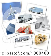 Clipart Of A 3d Stopwatch And 48 Hour Speed Notice With Pictures Of Transport And Logistics Items On White Royalty Free Illustration by Frank Boston