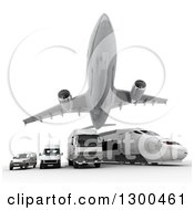 Clipart Of A 3d Commercial Airliner Plane Flying Over A Big Rig Train And Delivery Vans On White Royalty Free Illustration
