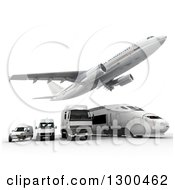 Clipart Of A 3d Commercial Airliner Plane Flying Over A Big Rig Train And Delivery Vans On White 2 Royalty Free Illustration