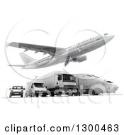 Clipart Of A 3d Commercial Airliner Plane Flying Over A Big Rig Train And Delivery Vans On White 3 Royalty Free Illustration