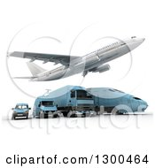 Clipart Of A 3d Commercial Airliner Plane Flying Over A Blue Big Rig Train And Delivery Vans On White Royalty Free Illustration
