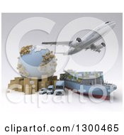 Clipart Of A 3d Commercial Airliner Plane Flying Over A Big Rig Cargo Ship And Delivery Vans By A Globe And Packages On White Royalty Free Illustration
