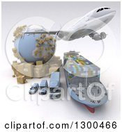 Clipart Of A 3d Commercial Airliner Plane Flying Over A Big Rig Cargo Ship And Delivery Vans By A Globe And Packages On White 2 Royalty Free Illustration