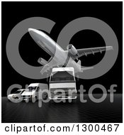 Clipart Of A 3d Commercial Airliner Plane Flying Over A Big Rig And Delivery Vans On Black Royalty Free Illustration