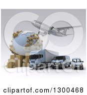 Clipart Of A 3d Commercial Airliner Plane Flying Over A Big Rig And Delivery Vans By A Globe With Packages On White Royalty Free Illustration