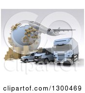 Clipart Of A 3d Commercial Airliner Plane Flying Over A Big Rig And Delivery Vans By A Globe With Packages On White 2 Royalty Free Illustration