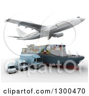 Clipart Of A 3d Commercial Airliner Plane Flying Over A Big Rig Cargo Ship And Blue Delivery Vans On White Royalty Free Illustration