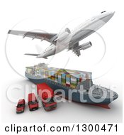 Clipart Of A 3d Commercial Airliner Plane Flying Over A Big Rig Cargo Ship And Red Delivery Vans On White Royalty Free Illustration