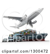 Clipart Of A 3d Commercial Airliner Plane Flying Over A Big Rig Cargo Ship And Blue Delivery Vans On White 2 Royalty Free Illustration