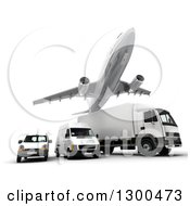 Clipart Of A 3d Commercial Airliner Plane Flying Over A Big Rig And Delivery Vans On White 2 Royalty Free Illustration