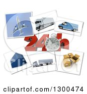 Clipart Of A 3d Stopwatch And 24 Hour Speed Notice With Pictures Of Transport And Logistics Items On White Royalty Free Illustration by Frank Boston