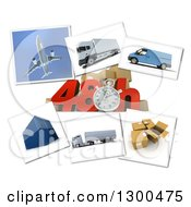 Clipart Of A 3d Stopwatch And 48 Hour Speed Notice With Pictures Of Transport And Logistics Items On White 2 Royalty Free Illustration by Frank Boston