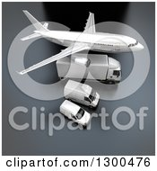 Clipart Of A 3d Commercial Airliner Plane Flying Over A Big Rig And Delivery Vans On Gray Royalty Free Illustration
