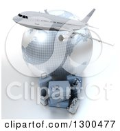Clipart Of A 3d Commercial Airliner Plane Over A Grid Globe And Blue Luggage On White Royalty Free Illustration