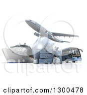 3d Commercial Airliner Plane Over A Grid Globe Cruise Ship Bus And Blue Luggage On White