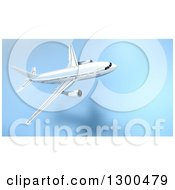 Clipart Of A 3d Commercial Airliner Plane Flying Over A Blue Grid Royalty Free Illustration