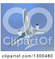 Clipart Of A 3d Low View Of A Commercial Airliner Plane Flying Against A Blue Grid Royalty Free Illustration