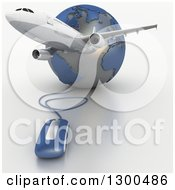 Clipart Of A 3d Commercial Airliner Plane Over A Blue And Gray Grid Globe With A Computer Mouse Royalty Free Illustration