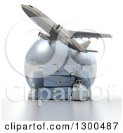 Clipart Of A 3d Commercial Airliner Plane Flying Over A Blue Grid Globe With Luggage Royalty Free Illustration