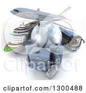 3d Commercial Airliner Plane Over A Blue Grid Globe Cruise Ship Bus And Luggage On White