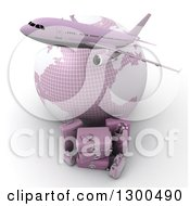Clipart Of A 3d Commercial Airliner Plane Over A Grid Globe And Pink Luggage On White Royalty Free Illustration