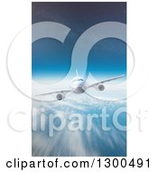 Clipart Of A 3d Commercial Airliner Plane Flying Over A Blurred Cloudy Earth And Stars In The Sky Royalty Free Illustration