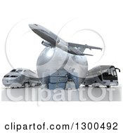 3d Commercial Airliner Plane Over A Blue Grid Globe Train Bus And Luggage On White