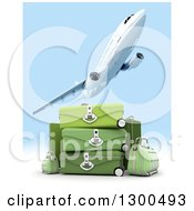 Clipart Of A 3d Commercial Airliner Plane Flying Over Green Luggage And Sky Royalty Free Illustration