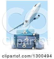 Clipart Of A 3d Commercial Airliner Plane Flying Over Blue Luggage And Sky Royalty Free Illustration