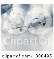 Clipart Of A 3d Commercial Airliner Plane Flying Over Clouds Royalty Free Illustration