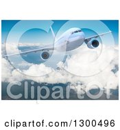 Clipart Of A 3d Commercial Airliner Plane Flying Over Clouds 6 Royalty Free Illustration