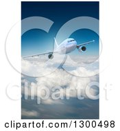Clipart Of A 3d Commercial Airliner Plane Flying Over Clouds 5 Royalty Free Illustration