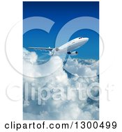 Clipart Of A 3d Commercial Airliner Plane Flying Over Clouds 4 Royalty Free Illustration