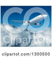 Clipart Of A 3d Commercial Airliner Plane Flying Over Clouds 3 Royalty Free Illustration