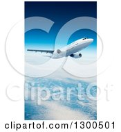 Clipart Of A 3d Commercial Airliner Plane Flying Over Clouds 2 Royalty Free Illustration