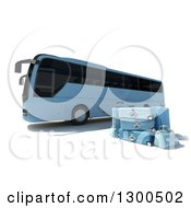3d Blue Coach Bus With Matching Luggage On White