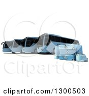 3d Fleet Of Blue Coach Buses With Luggage On White
