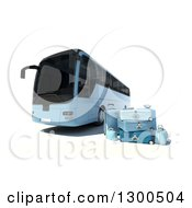 3d Blue Coach Bus With Luggage On White