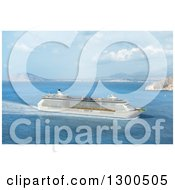 Clipart Of A 3d Mediterranean Cruise Ship Royalty Free Illustration