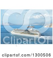 Clipart Of A 3d Mediterranean Cruise Ship And Other Boats Royalty Free Illustration