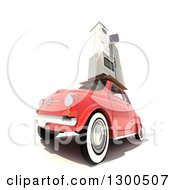 Clipart Of A 3d Red Compact Car Loaded With Appliances On Top Over White Royalty Free Illustration