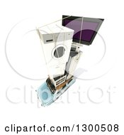 Clipart Of A 3d Aerial View Of A Blue Compact Car Loaded With Appliances On Top Over White Royalty Free Illustration