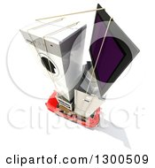 Clipart Of A 3d Aerial View Of A Red Compact Car Loaded With Appliances On Top Over White Royalty Free Illustration